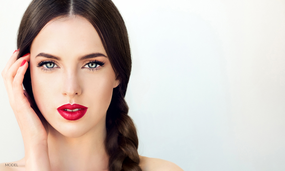 Model With Braid and Red Lips