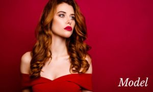 Beautiful Woman in Red Dress and Lipstick